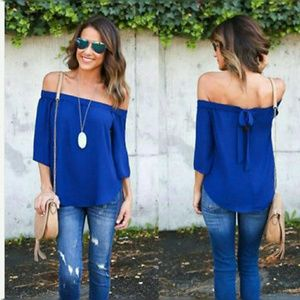 5🌟 blue chiffon off the shoulder 3/4 sleeve top